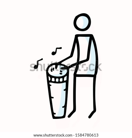 Hand Drawn Stick Figure Playing Djembe Drum. Concept of Musical Instrument Performer. Simple Icon Motif for African Drumming Entertainment Music Pictogram. Folk, Festival Illustration. Vector EPS 10.