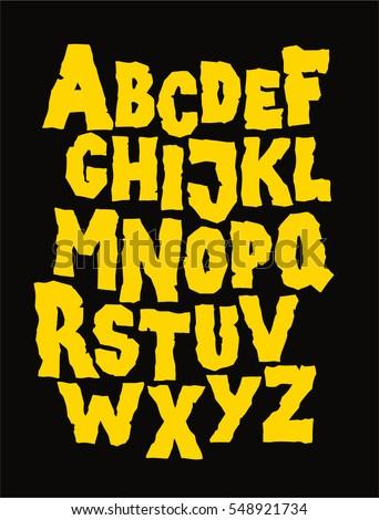 Hand drawn stone grunge font. Editable vector alphabet