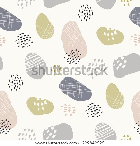Hand-drawn stone-like textured organic fragments vector seamless pattern. Whimsical abstract geo.