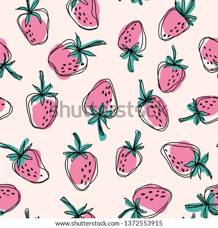 hand drawn strawberry  seamless
