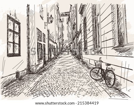 hand drawn street old town