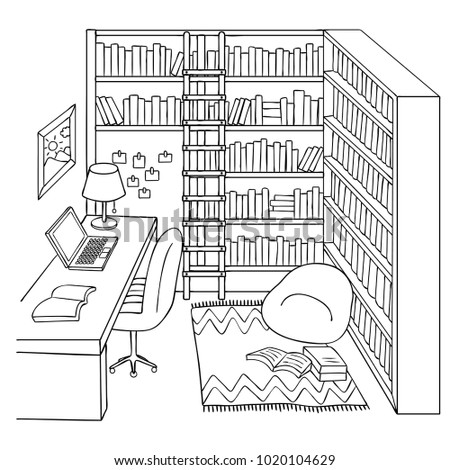 hand drawn study or library