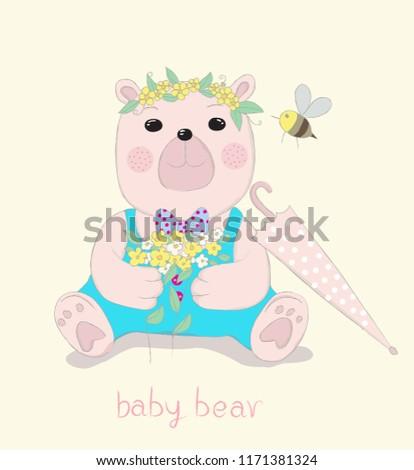 Hand drawn style, Cute little bear cartoon hold flowers in hand.  #1171381324