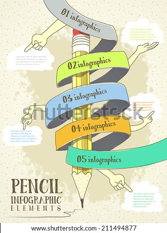 hand drawn style infographic with pencil hand and ribbon elements flow chart