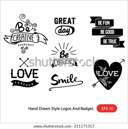 hand drawn style logos and