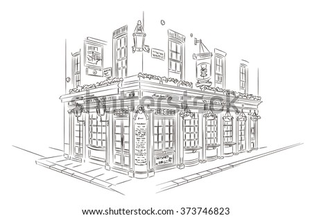Hand Drawn Style Vector Sketch. Pub, London