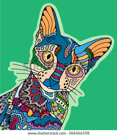 hand drawn stylized cat with