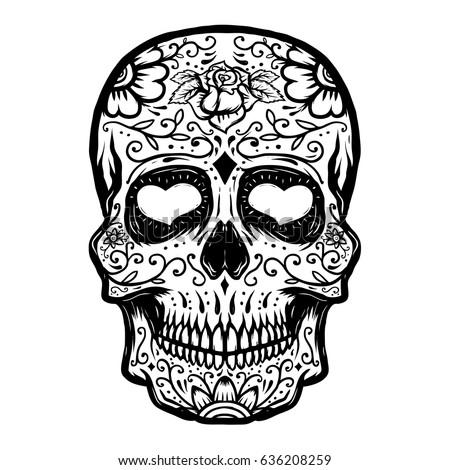 hand drawn sugar skull isolated
