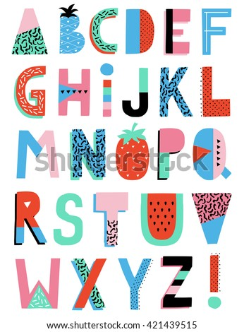 Hand Drawn Summer Creative Alphabet. Vector.