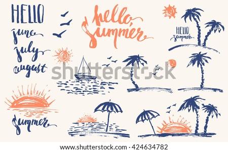 hand drawn summer design