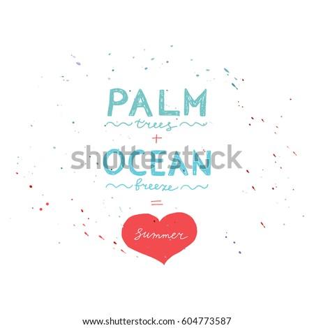 hand drawn summer poster palm