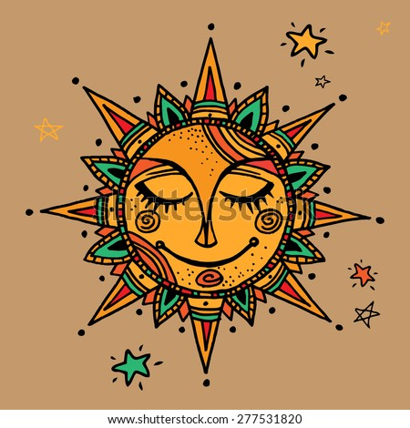 hand drawn summer sun tribal