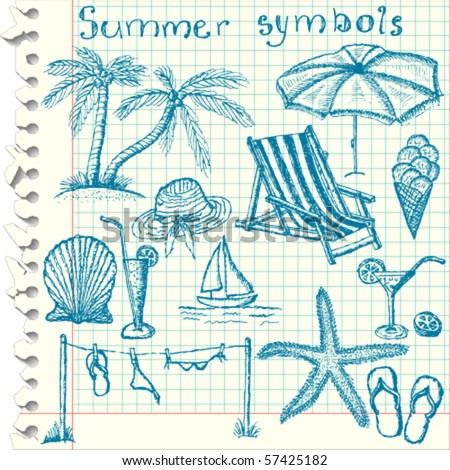 Hand-drawn summer symbols - vector illustration