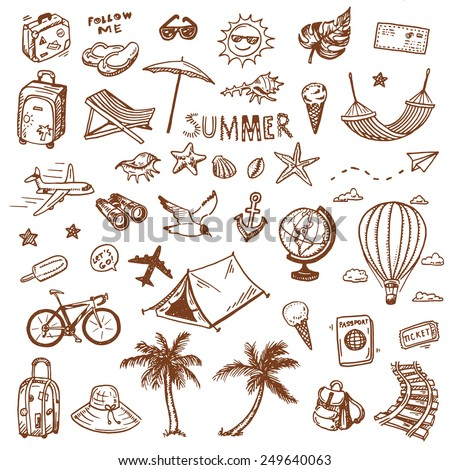 hand drawn summer time icons...