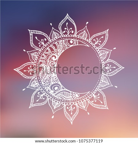 Hand drawn sun and moon. Zentangle sun and moon on blurred background. Vector illustration made by trace from sketch.