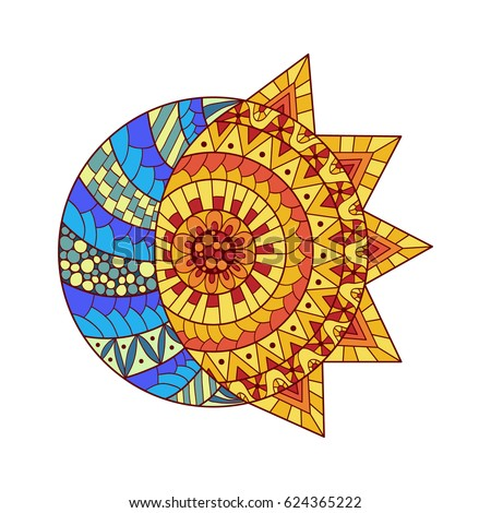 hand drawn sun  new moon and