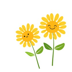 Hand drawn sunflower with green leaves isolated on white background vector illustration. Cute cartoon character.