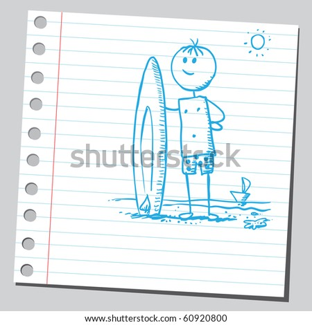 Hand drawn surfer