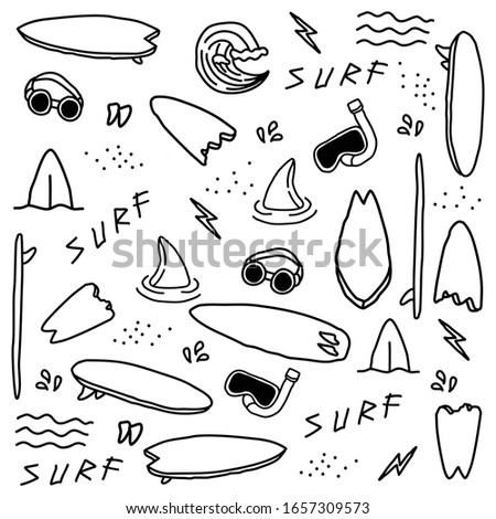 Hand drawn surfing elements seamless pattern. surf background. Surfing doodle illustration. Vector illustration. Seamless pattern with surfing board, wave, goggles etc.