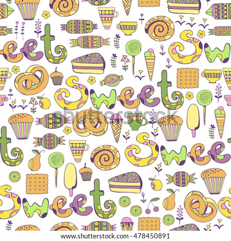 Hand drawn sweets and candies set. Colorful Vector Seamless Pattern.