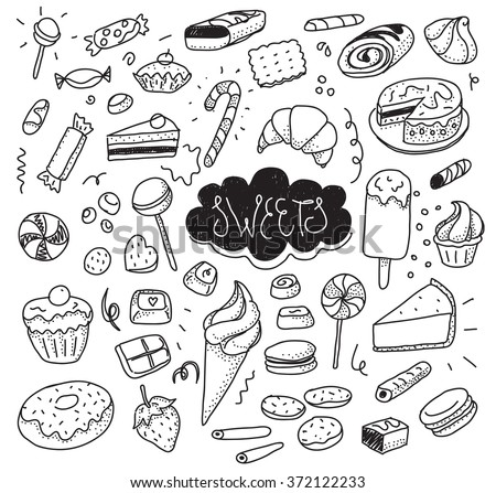 Hand drawn sweets and candies set. Ice cream, cake, donut, etc. Vector doodles. Isolated food on white background. Black and white.