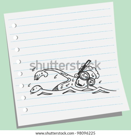 Hand drawn swimmer doodle illustration