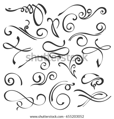 Hand drawn swirl ornate decoration elements. Quill pen calligraphy style. Vector set for your calligraphy graphic design