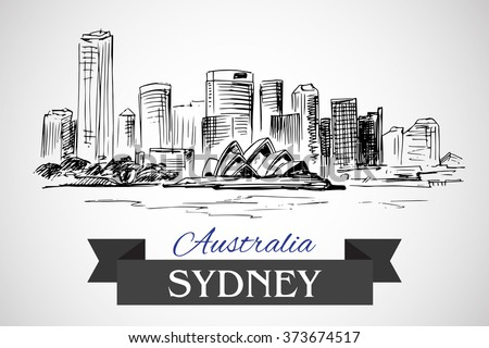 hand drawn sydney cityscape on