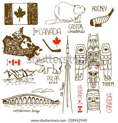 Hand drawn symbols of Canada. castor, confederation Bridge, Tower, polar bear, hockey, hand drawn, flag, landscape with mountains,