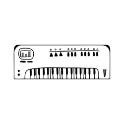 Hand drawn synthesizer, musical instruments isolated on a white background. Celebration elements. Doodle, simple outline illustration. It can be used for decoration of textile, paper.