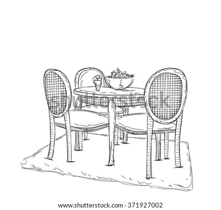 hand drawn table in the