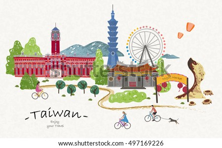 Hand drawn taiwan travel poster, lovely attractions for your trip.