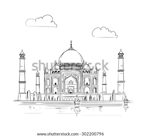 hand drawn taj mahal vector