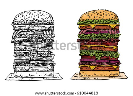 Hand drawn tall beef burger, vector