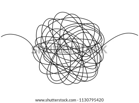 Hand drawn tangle scrawl sketch or black line spherical ball abstract scribble shape. Vector tangled chaotic doodle circle drawing circles or thread clew knot isolated on white background