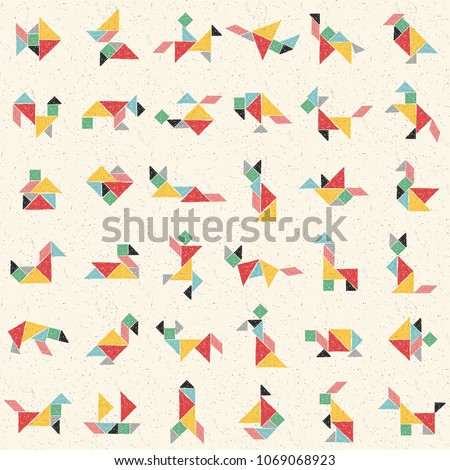 Hand drawn tangram set in vector. Collection of composite figures: bear, cat, turtle, dog, bird, heart, rabbit. Childish colorful seamless pattern. Geometric background. Chinese puzzle game for kids