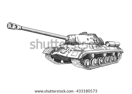 hand drawn tank military