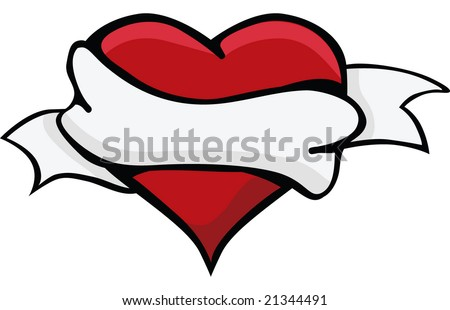 stock vector : Hand drawn tattoo heart with banner