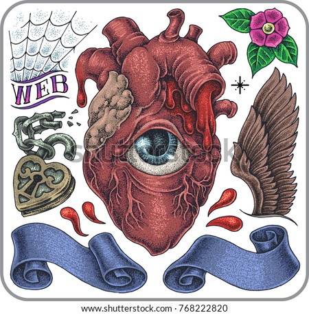 Hand-drawn tattoo set of anatomical heart and symbols of modern love.