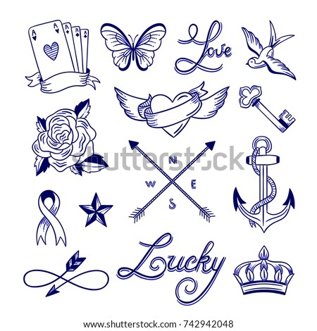 Hand drawn tattoo sketches. Tattoo drawings outline clip art