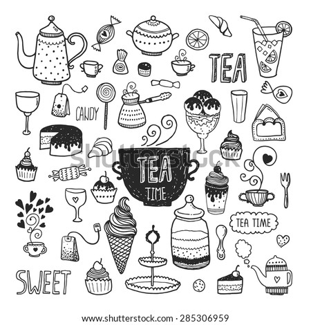 Hand drawn tea time collection, vector doodle set with teapots, glass, cupcake, decoration,  ice cream, cup and sweets