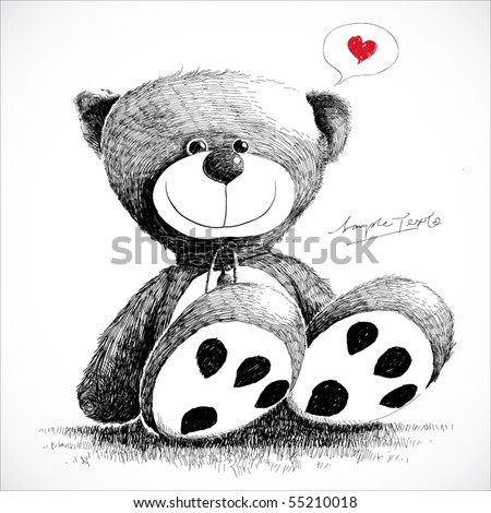 hand drawn teddy bear isolated