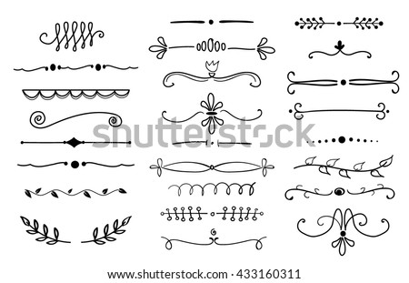 hand drawn text dividers design elements set