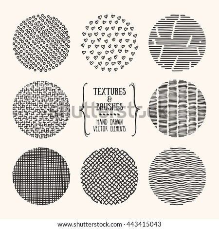 Hand drawn textures and brushes. Artistic collection of design elements: bubbles, brush strokes, paint dabs, hearts, wavy lines, abstract backgrounds, patterns made with ink. Isolated vector set.