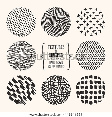 Hand drawn textures and brushes. Artistic collection of design elements: bubbles, brush strokes, paint dabs, rough lines, abstract backgrounds, patterns made with ink. Isolated vector set.