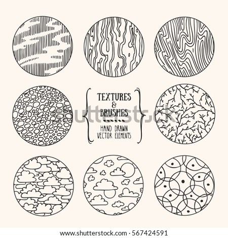 Hand drawn textures and brushes. Artistic collection of design elements: clouds, stones, bricks, bubbles, wavy lines backgrounds, natural pattern made with ink. Isolated vector set.