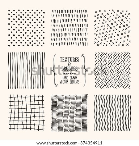 Hand drawn textures and brushes. Artistic collection of design elements: graphic patterns, geometric ornaments, abstract lines made with ink. Isolated vector.