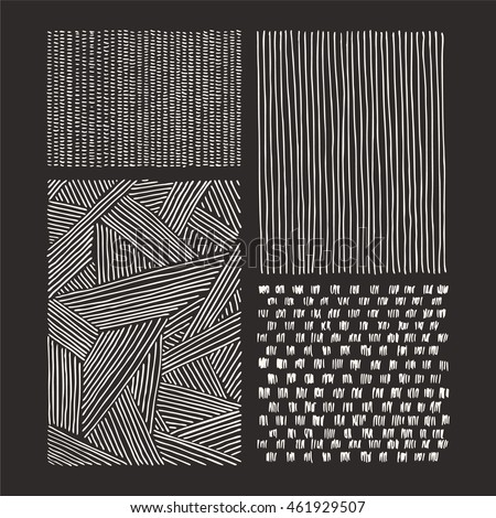 Hand drawn textures and brushes. Artistic collection of design elements: graphic patterns, geometric ornaments, abstract lines made with ink. Isolated vector set.