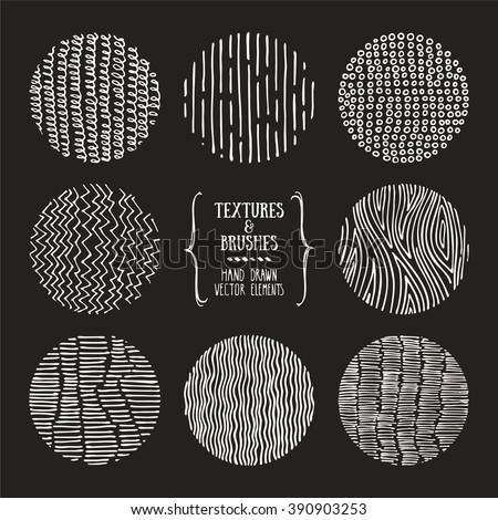 Hand drawn textures and brushes. Artistic collection of design elements: hatching ornament, brush strokes, wavy lines, abstract backgrounds, wood pattern made with ink. Isolated vector.