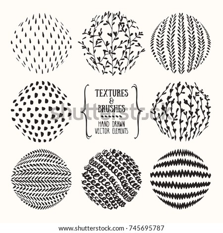 Hand drawn textures and brushes. Artistic collection of handcrafted design elements: zigzag, squiggles, organic patterns, floral ornaments, abstract lines, stippling made with ink. Isolated vector set